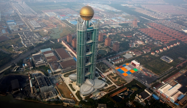 The newly inaugurated skyscraper tower of Huaxi village is seen in Huaxi village